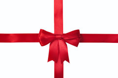 Red ribbon with bow Royalty Free Stock Image