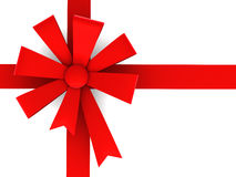 Red ribbon and bow. Stock Photos