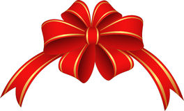 Red ribbon and bow. Red and gold  ribbon and bow Stock Image