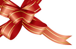 Red ribbon and bow. Vector illustration Royalty Free Stock Photos