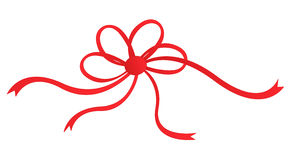 Red ribbon bow. Isolated on white background illustration Stock Photography