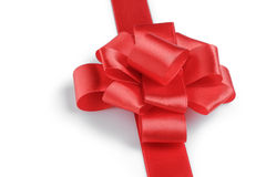 Red ribbon bow angle photo Stock Photography