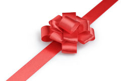 Red ribbon bow angle photo Royalty Free Stock Image