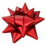 Red Ribbon Bow. Angle view royalty free stock images