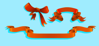 Red ribbon  and bow. Red ribbon and bow on a blue background Stock Photography