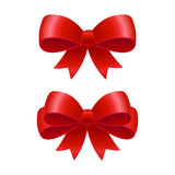 Red ribbon bow. S vector illustration. Isolated realistic gift packaging design element Stock Photos