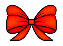 Red ribbon bow for christmas present symbol design. Vector illustration isolated on white background. Stock Photo