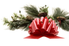 Red ribbon bow and Christmas tree Stock Photography