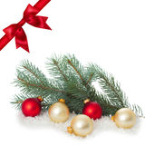 Red ribbon bow end bauble on white background. Christmas tree. Stock Image