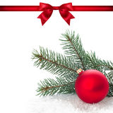 Red ribbon bow end bauble on white background. Christmas tree. Stock Images