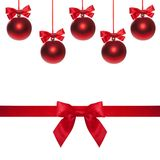 Red ribbon bow end bauble on white background. Christmas tree. Royalty Free Stock Photography