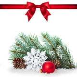 Red ribbon bow end bauble on white background. Christmas tree. Stock Photography