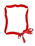 Red ribbon bow frame Stock Photos