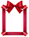 Red Ribbon And Bow Frame. Red silk ribbon and bow as a frame for a seasonal decoration for gift giving during a celebration as Christmas birthdays and Royalty Free Stock Images