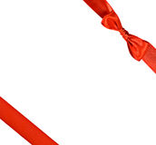 Red Ribbon With Bow, Gift. Red ribbon with bow isolated on white, square format Stock Photo
