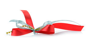 Red ribbon and bow gift box Stock Images