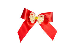 Red ribbon Bow Gift Wrap isolated with Stock Photography