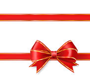 Red ribbon bow. With gold on white. vector decorative design elements Royalty Free Stock Photo