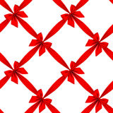 Red ribbon and bow grid seamless pattern background isolated on Royalty Free Stock Images