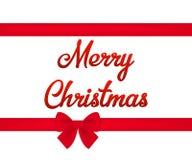 Red ribbon bow horizontal border and Merry Christmas text. Vector illustration. Royalty Free Stock Photo