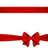 Red ribbon bow horizontal border. Vector illustration Royalty Free Stock Photos