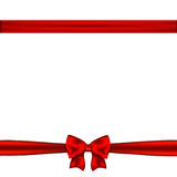 Red ribbon bow horizontal border. Vector illustration Stock Image