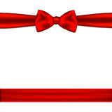 Red ribbon bow horizontal border. Vector illustration.  Stock Photography