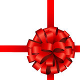 Red ribbon bow Stock Images
