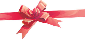 Red ribbon bow invitation, illustration. Illustration of a Red ribbon bow invitation Stock Images