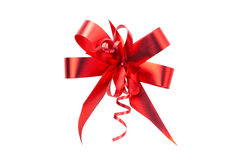 Red ribbon bow isolated. On white Stock Photos