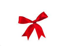 Red ribbon by bow. Isolated Royalty Free Stock Image