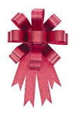 Red ribbon bow isolated with clipping path Stock Images
