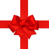 Red ribbon bow isolated on white Stock Photo