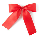 Red ribbon bow. Isolated on white Stock Photo