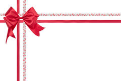 Red ribbon bow isolated on white background.  Stock Image