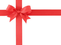 Red ribbon with bow isolated on white background Royalty Free Stock Image