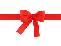 Red ribbon with bow isolated on white background Stock Photo