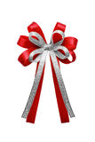 Red ribbon bow isolated on white background. Royalty Free Stock Photography