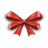 Red ribbon with bow isolated on white background. Vector Royalty Free Stock Photo
