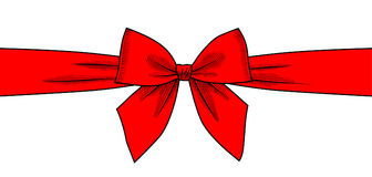 Red ribbon and bow isolated on white background Stock Photos