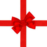 Red ribbon bow isolated on white. Holiday background Stock Photo