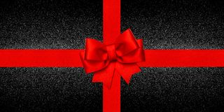 Red ribbon bow shiny black background Gift card. Red ribbon bow over shiny black background. Gift card concept Royalty Free Stock Photo