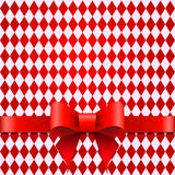 Red ribbon with bow on a rhombus background. Gift wrap Royalty Free Stock Image
