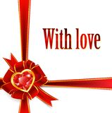 Red ribbon bow with ruby heart. Holiday red ribbon bow with ruby heart Royalty Free Stock Images