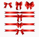 Red Ribbon and Bow Set for Birthday Christmas Gift Box. Real vector illustration