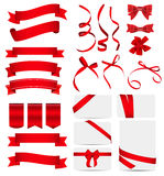 Red Ribbon and Bow Set. Vector illustration. EPS10 Stock Images