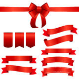 Red Ribbon and Bow Set. Vector illustration Royalty Free Stock Photo