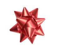 Red ribbon bow shot form above, with no shadow Royalty Free Stock Photos