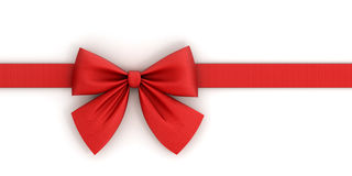 Red ribbon with bow with tails. Isolated on white background Royalty Free Stock Image