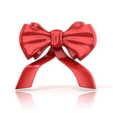 Red ribbon bow with tails Royalty Free Stock Photos